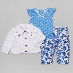 White & Blue Button -Up Jacket Set